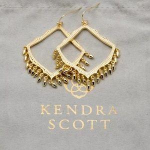 Kendra Scott Gold Frame Fringe Dangle Earrings